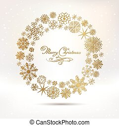 Set of vector snowflakes. Marry Christmas calligraphy