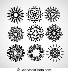 set of vector snowflakes on white