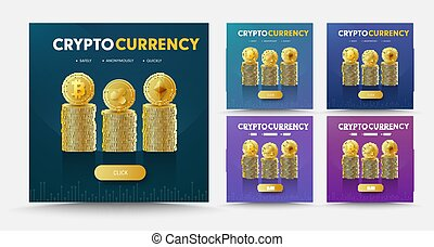 Set of vector social media banners with stacks of coins crypto currency Bitcoint, Ripple and Ethereum.