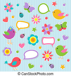 Set of vector speech bubbles with cute birds