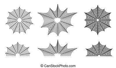 Set of vector spider web. Black and white illustration with...