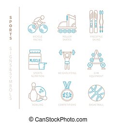 Set of vector sport icons and concepts in mono thin line...