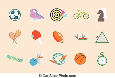 Set of vector sport icons in flat design