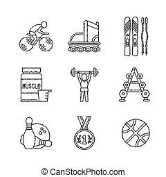 Set of vector sport icons in sketch style