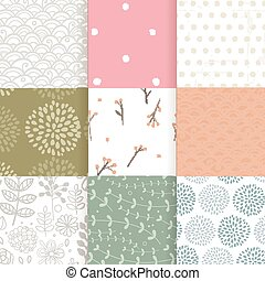 Set of vector spring patterns with flowers, doodle pattern, branches, leaves.