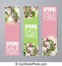 Set of vector spring sale vertical banners with sakura