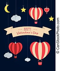 Set of vector St. Valentine s day illustration and typography elements. Clouds, balloons, moon, stars, ribbon, heart.