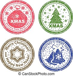 Set of vector stamps. Christmas bag, Christmas tree and bells in snow.