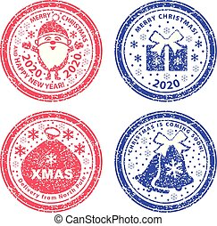 Set of vector stamps. Santa Claus full length, Christmas bag, gift and bells in snow.