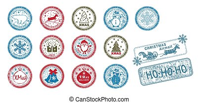 Set of vector stamps. Santa Claus full length, Christmas tree, gift and bells in snow.