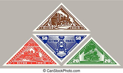 Set of vector stamps templates with retro trains