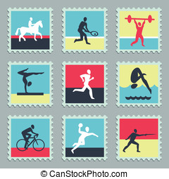 Set of vector stamps with sport icons