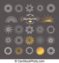 Set of vector starbursts. Vintage design elements. Retro style line art decorative sunbeams. Hand drawn sunshine shapes