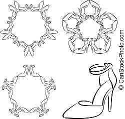 Set of vector stars, colors and circular patterns with women's shoes with high heels
