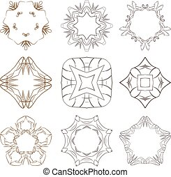 Set of vector stars, colors, circular patterns and mandalas