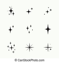 Set of vector stars sparkle.