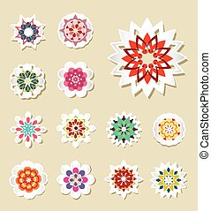 Set of vector stickers and flowers.