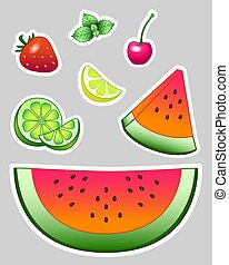 Set of vector stickers - fruits. Bright juicy fruits - Watermelon, lime, lemon, cherry and strawberry. And also mint leaves. Cut and whole fruits and berries.