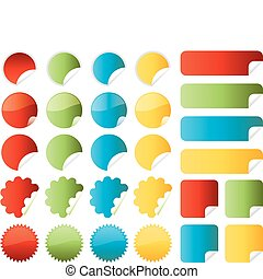 Set of vector stickers in red, green, blue and yellow colors