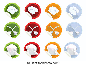 Set-of-vector-stickers-with-chef-hat-spoon-pot