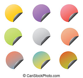 Set of vector stickers with corners