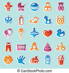 Set of vector stickers with kids and toys - design elements ...