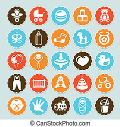 Set of vector stickers with kids and toys - design elements...
