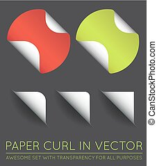 Set of Vector Stickers with Paper Curl