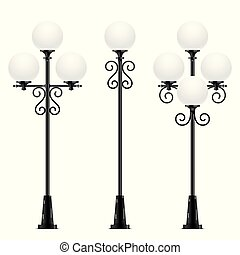 Set of vector street lamps with oval heads.