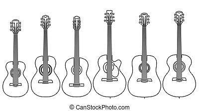 Set of vector stringed musical instruments drawn by lines.