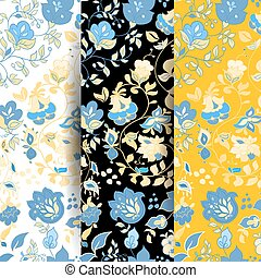 Set of Vector summer doodle seamless patterns. Floral background