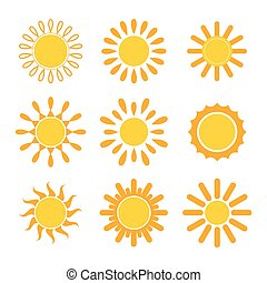 Set of vector suns. Sun icons