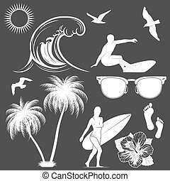Set of vector surfing design elements