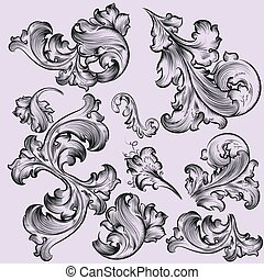 Set of vector swirls in vintage style  for design.eps