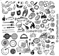 Set of vector symbol for barbecue. Eco picnic of vegetables and meat.