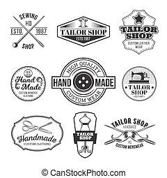 Set of vector tailor emblem, signage