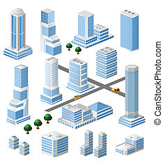 vector tall buildings - Set of vector tall buildings in ...
