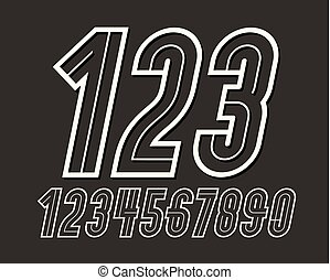 Set of vector tall retro condensed numbers can be used as logo design element
