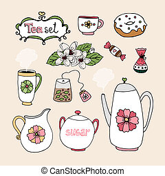 Set of vector tea service icons with cup teapot sugar milk...