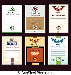 Set of vector template certificate, modern design. Football, ten