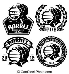 set of vector templates for labels or menu with barrels and barley