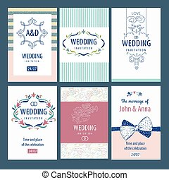 Set of vector template wedding invitations