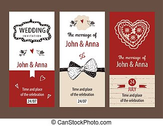 Set of vector template wedding invitations.