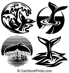 set of vector templates for logos with tails whale and water element