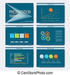Set of vector templates for multipurpose presentation slides. Modern business design with graph and charts