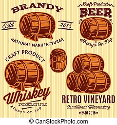 set of vector templates with colored barrels for spirits