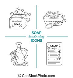 Set of vector thin line icons of handmade soap production