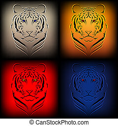 Set of vector tigers in various col