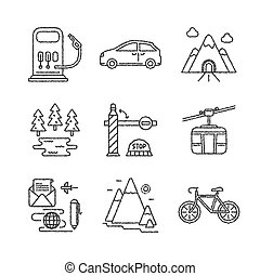 Set of vector travel icons sketch style
