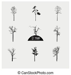 Set of vector tree silhouettes